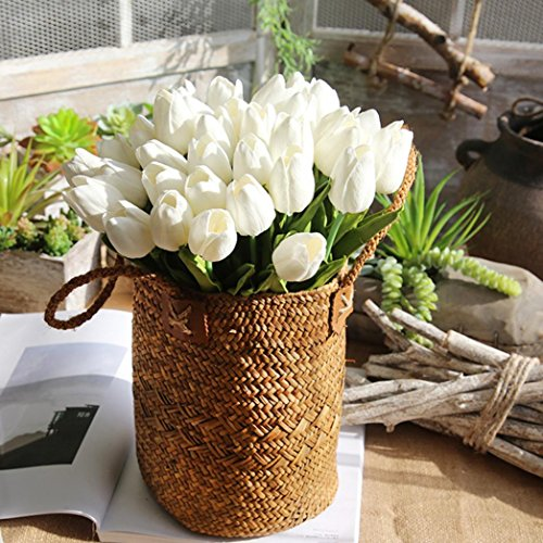 YJYdada Artificial Fake Flowers Tulip Bouquet Floral Wedding Bouquet Party Home Decor (White)