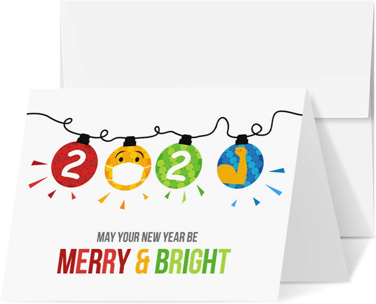 Best Gift Cards For Christmas 2021 Amazon Com 2021 Merry Christmas Happy New Year Holiday Greeting Cards Blank Fold Over Cards Envelopes Funny Emoji Cards For New Year S Gift Presents 25 Per Pack