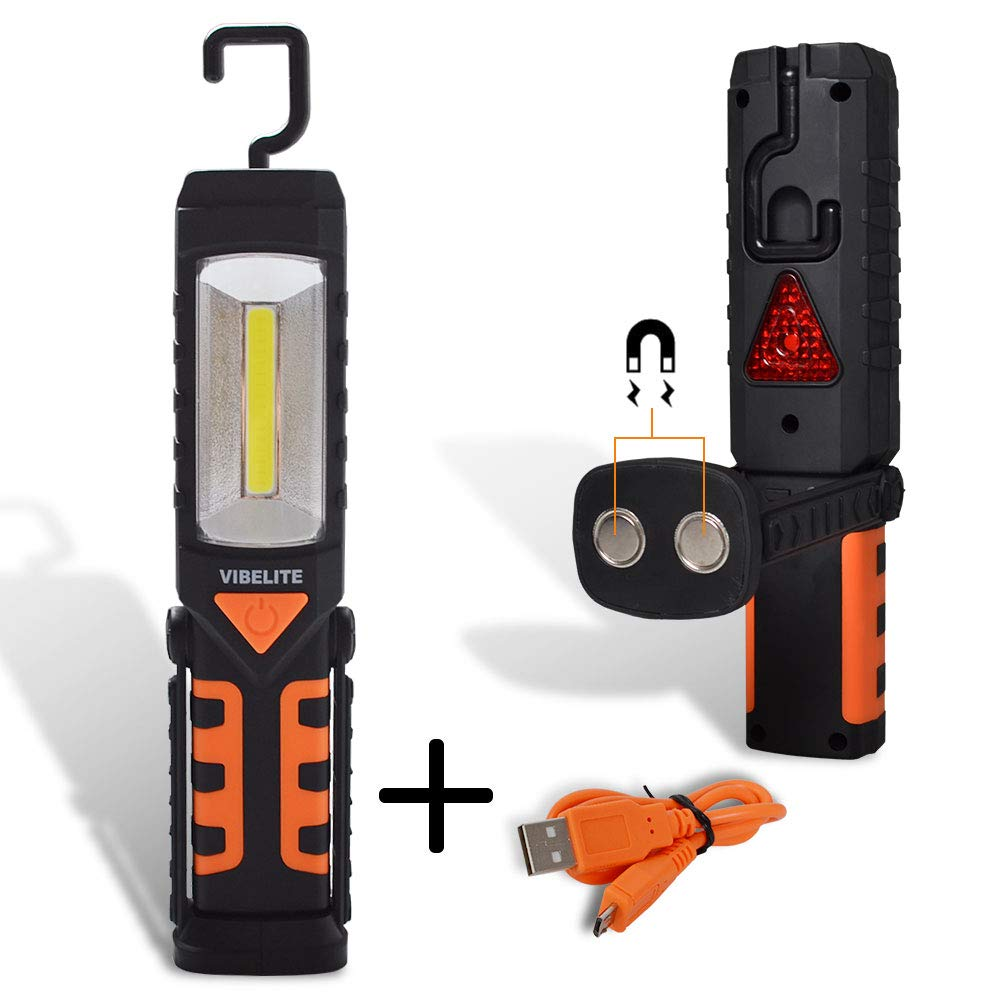 Rechargeable Work Light, Vibelite COB LED Portable Magnetic Flashlight, Inspection Lamp for Car Repair,Home Using, and Emergency Large Orange