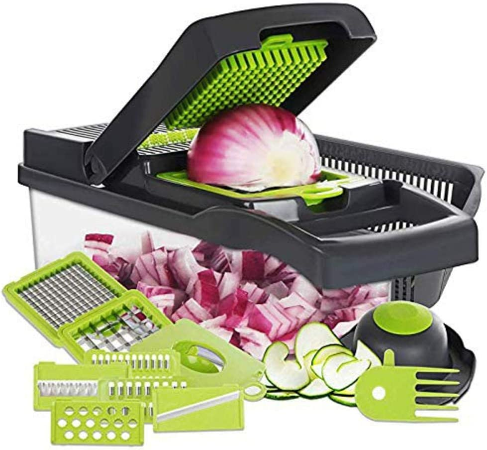 Kitchen Chateau Vegetable Onion Food Chopper ProMax V8200 Heavy Duty Cutter, Slicer, Dicer, Multi Functional Changeable Blades, With Anti Cut Gloves As A Gift!