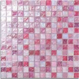 BIG SALE! 10.76sq.ft Stylish Pink Glass Tile Iridescent Pink Glass Wall Art Mosaic For Kitchen backsplash,Bathroom Walls, Spas, Pillar- LSLL04 (Pack of 11PCS)