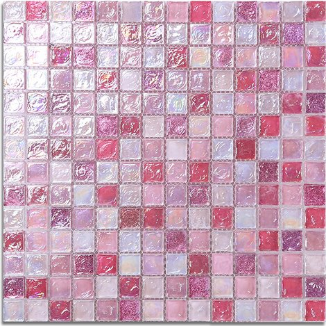 BIG SALE! 10.76sq.ft Stylish Pink Glass Tile Iridescent Pink Glass Wall Art Mosaic For Kitchen backsplash,Bathroom Walls, Spas, Pillar- LSLL04 (Pack of 11PCS) by LANDS GLASS TILES