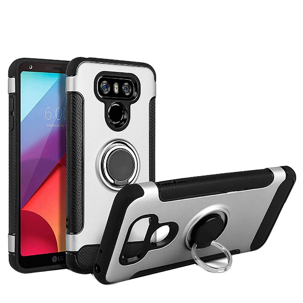Anyos Car Magnetic Kickstand 360 Degree Ring Holder Protection Cover Compatible with LG G6 Silver Case for LG G6