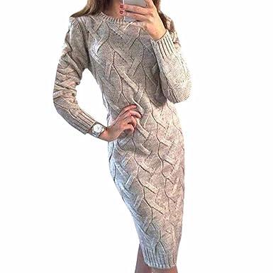76b718eef76 Women Twist Round Collar Split Long Sweaters Pullover Knitted Dress ...