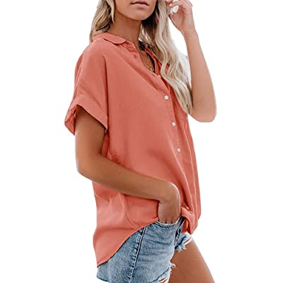 Womens Button Down Shirts Pocket Cap Sleeve Summer Blouse Military Utility Tops at Women's Clothing store
