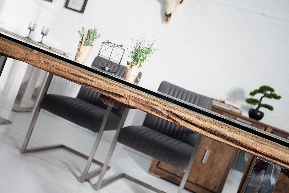 Teakholz tisch glas  Massiver Esstisch BARRACUDA Teak mit Stahl Kufenfüßen 180cm inkl ...