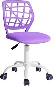FurnitureR Writing Desk Chair for Teens Boys Girls,Home Office Chair with Breathable PP Mid Back, Armless,Height Adjustable,360 Swivel Chair,Purple