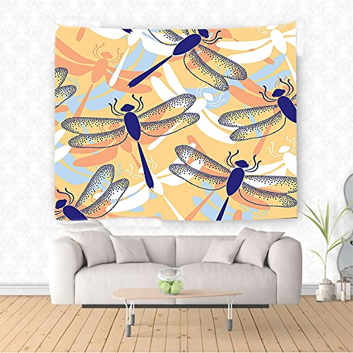 Nalahome Decor Uneven Big Repetitive Dragonfly Figures with Two Pairs of Patched Wings Flying Predator Motif Multi Ethnic Decorative Tapestry Blanket Wall Art Design Handicrafts 59W x 51.1L Inches