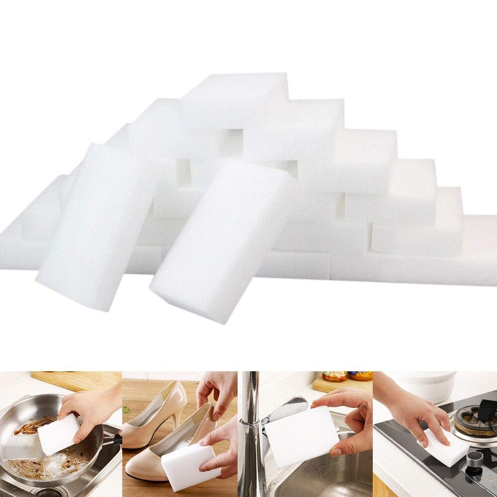 Swyss 105PCS White Magic Melamine Foam Cleaning Pads - Eraser Sponge for All Surfaces - Kitchen-Bathroom-Furniture-Leather-Car- Just Add Water to Erase All Dirt (5Pcs /10x6x2cm)