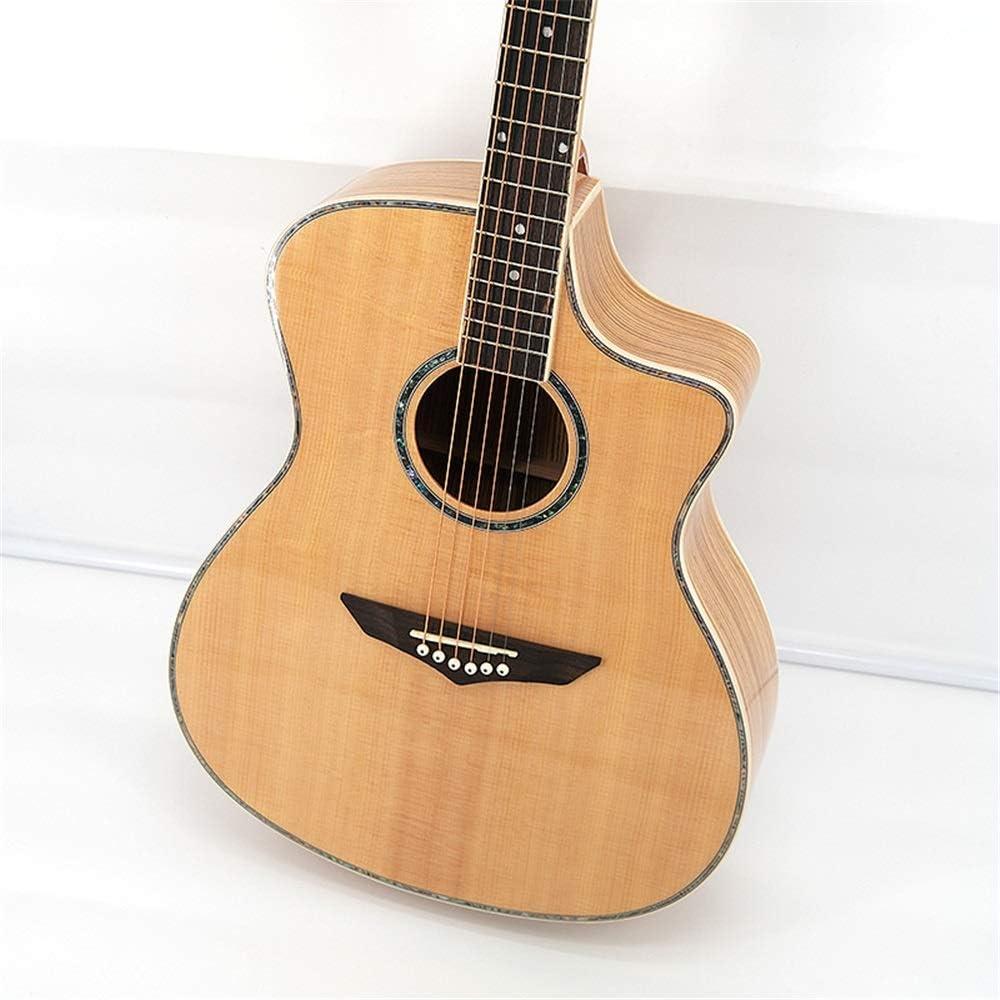 アコースティックギター シングルボードギター41インチゼブラウッドスプルース単ギター 本格的なアコー (Color : Corner light A, Size : 41 inches)