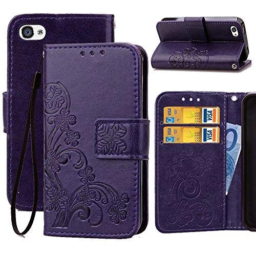 e,4S Wallet Flip Case,Wild Wolf Flower [Clover] Wallet Case,PU Leather Case,Credit Card Holder,Flip Cover Skin for iPhone 4/4s ()