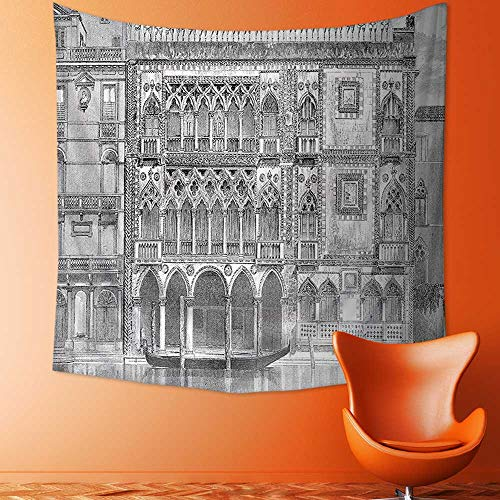 Wall Tapestry Home Decor 19th Century Engraving of Grand Canal Venice Monument Landmark Illustration Black White Tapestries for (19th Century Tapestry)