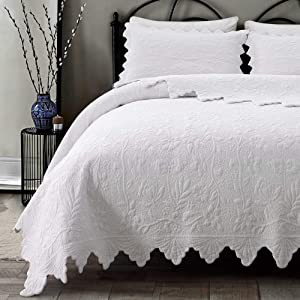 Brandream White Quilts Set King Size Bedspreads Farmhouse Bedding 100% Cotton Quilted Bedspreads