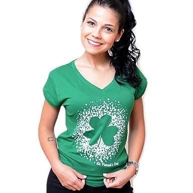 2f7fe3005ca Carrolls Irish Gifts St. Patrick s Day Ladies V-Neck T-Shirt with Shamrock