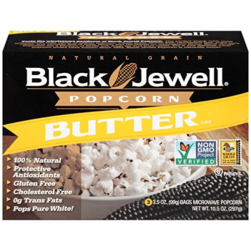 Daily Jewels (Black Jewell Premium Microwave Popcorn, Butter, 3-Count, 10.5-Ounce Boxes (Pack of 6))