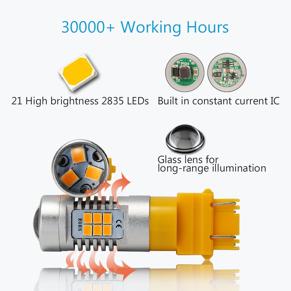 ENDPAGE 3157315630573056 LEDBulb2-pack, Amber Yellow, ExtremelyBright, 21-SMD with Projector Lens, 12-24V,Works asTurnSignalBlinker Lights by ENDPAGE (Image #3)