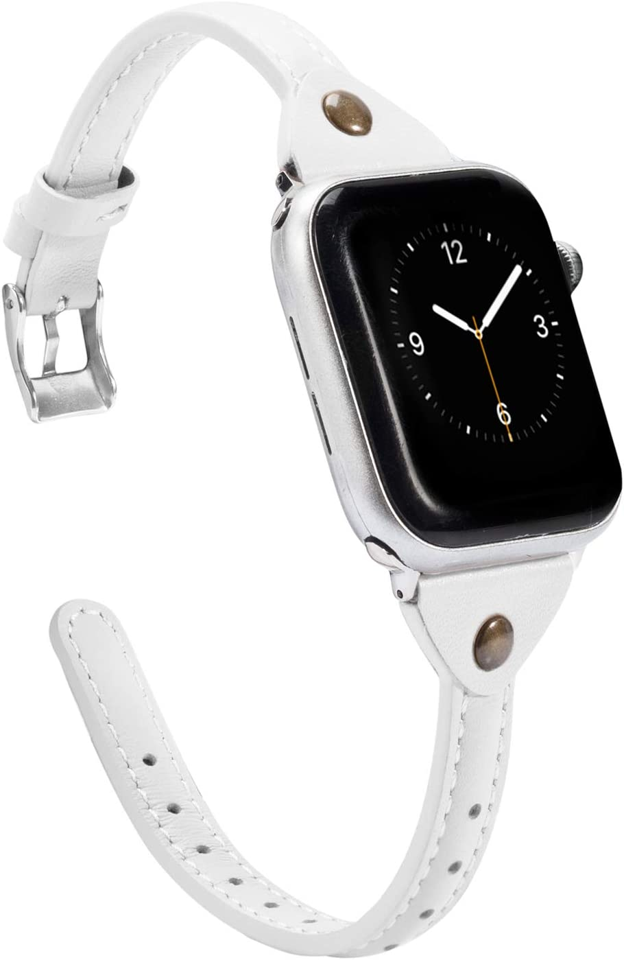 Wearlizer White Thin Leather Compatible with Apple Watch Bands 42mm 44mm for iWatch SE Womens Narrow Strap with Rivet Slim Sleek Stylish Cute Dressy Wristband (Silver Clasp) Series 6 5 4 3 2 1 Sport