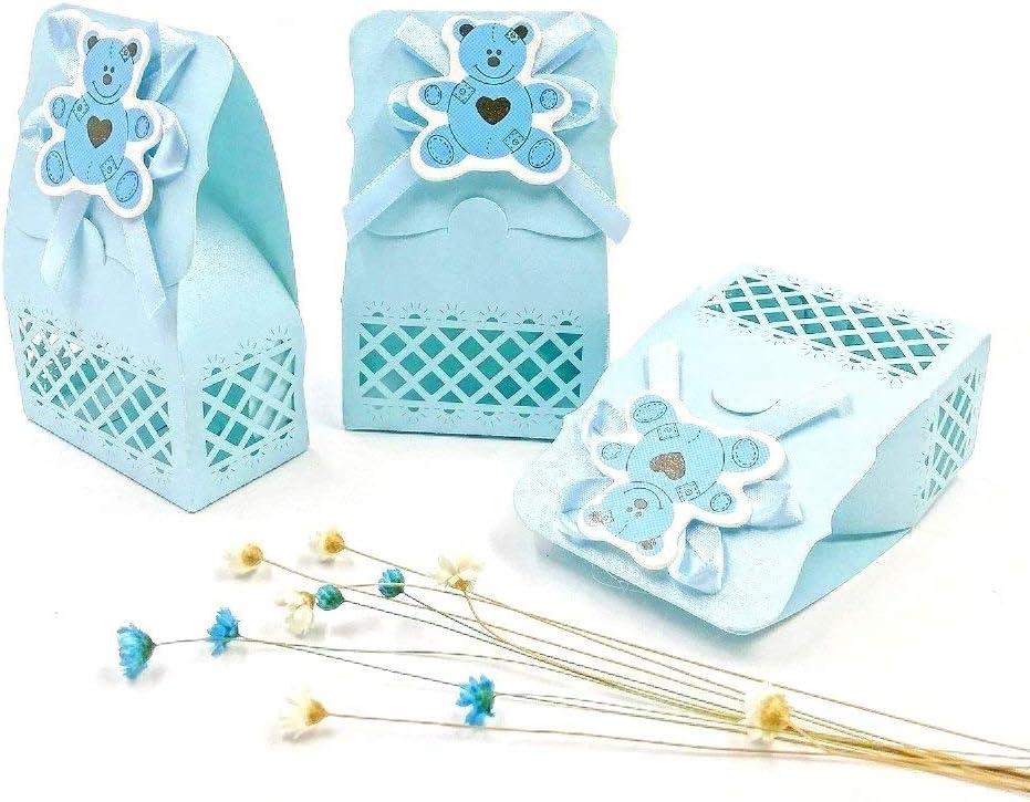 JZK 24 x Azul baby shower cajas botella favor cajitas regalo bolsa dulce para bebe niños bautizo bautismo boda cumpleaños Navidad fiesta