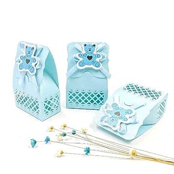 Cajitas Para Bautizo Nino.Jzk 24 X Azul Baby Shower Cajas Botella Favor Cajitas Regalo Bolsa Dulce Para Bebe Ninos Bautizo Bautismo Boda Cumpleanos Navidad Fiesta