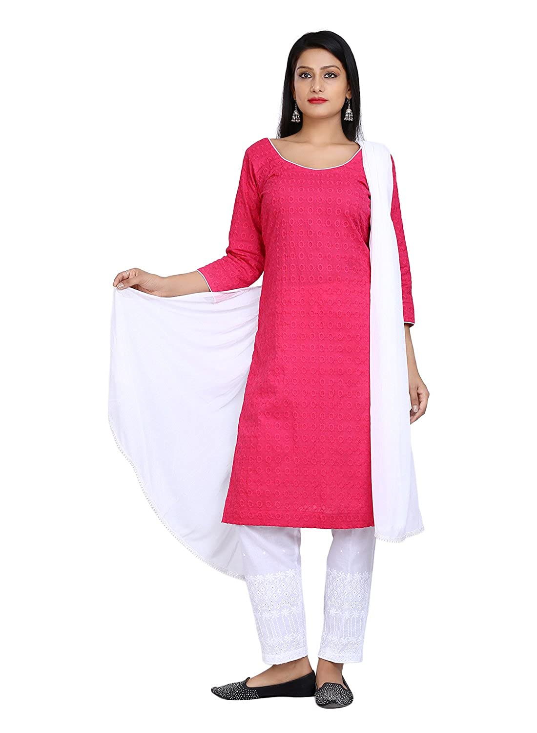 3c834a6ee5f Lamizor Pink And White Chicken Cotton Salwar Suit (Stitched)  Amazon.in   Clothing   Accessories