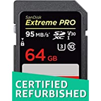 SanDisk Extreme PRO 64 GB SDXC Speicherkarte bis zu 95 MB/Sek, Class 10, U3, V30 (Generalüberholt)