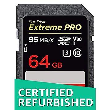 SanDisk Extreme Pro - Tarjeta de Memoria SDXC de 64 GB, hasta 95 MB/s, Class 10 y U3 y V30 (Reacondicionado)