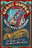 Santa Cruz, California - Giant Dipper Roller Coaster Vintage Sign (9x12 Art Print, Wall Decor Travel Poster)