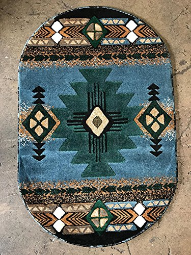 Southwest Native American Indian Light Blue Green Area Rug (3 Feet X 5 Feet Oval)