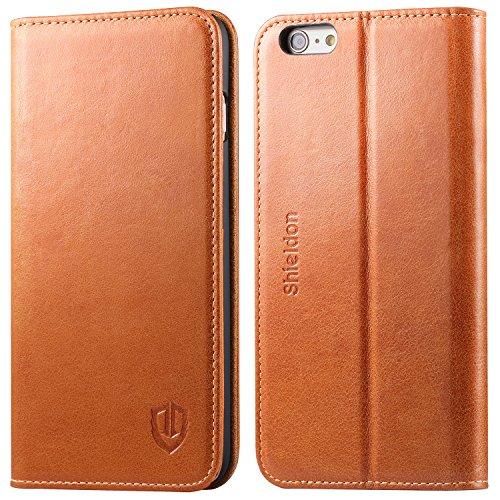 iPhone 6 Plus Case iPhone 6+ Case, SHIELDON Genuine Leather Wallet Case Folio Flip Book Design w/ Kickstand,...