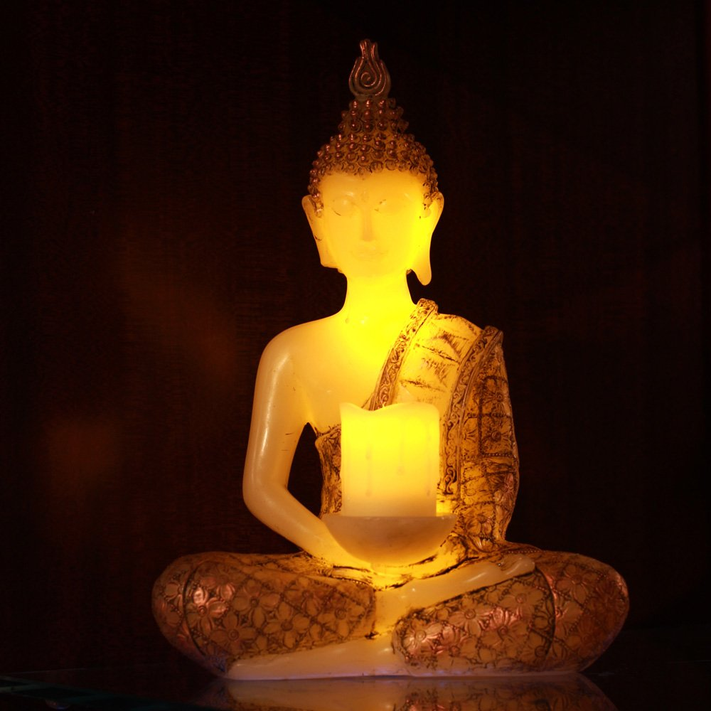 Meditating Thai Sitting Buddha Decor,Led Light With Timer,13'' Height