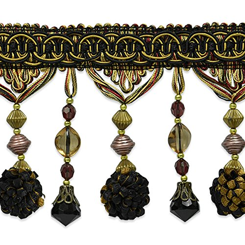 Expo International 20 yd of Preshea Decorative Beaded Fringe Trim, Burgundy/Multicolor by Expo International Inc.