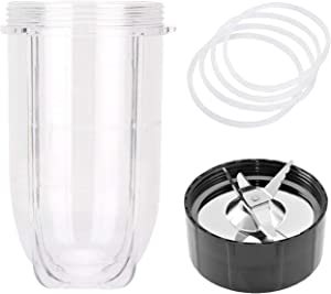 16 OZ Cups for Magic Bullet Replacement Parts, MB1001 Cross Ice Blades for Magic Bullet 250W Blender, Juicer, Mixer Accessories, with 4 PCS Rubber Gear Seal Rings