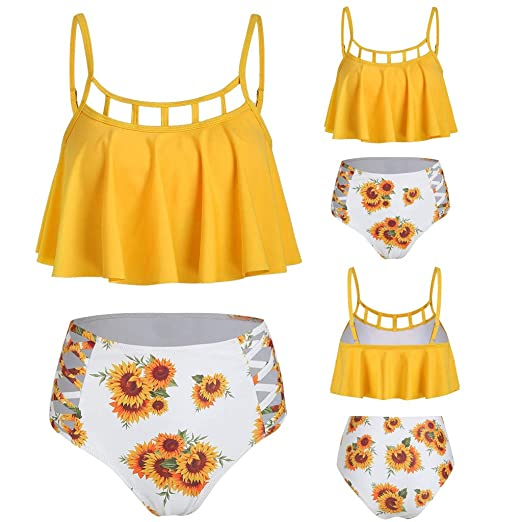 10c726633d Amazon.com: Gojendy Women Sexy Sunflower Floral Printed Two Pieces Swimsuit  Spagehtti Hollow Ruffle Bandeau Bikini Set High Waist: Clothing
