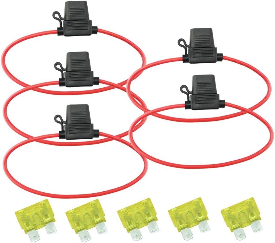 Standard-Sicherungshalter wasserdicht 5 St/ück 12 V Inline-Standard-Flachsicherungshalter spritzwassergesch/ützt 12 AWG Draht mit 20 A Standard-Flachsicherung