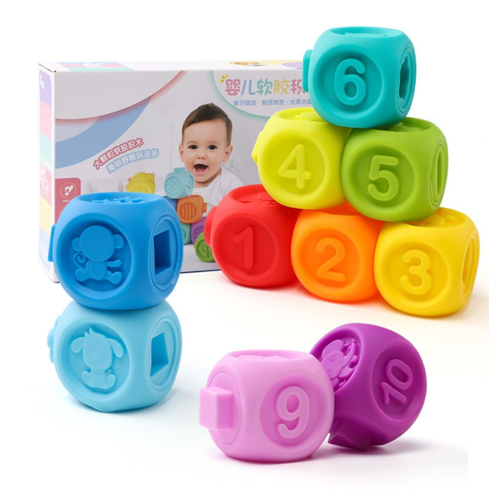 Aideal Soft Baby Teether Toy Building Blocks with Numbers, Shape & Animal Activity Toys Set for Ages 6-24months