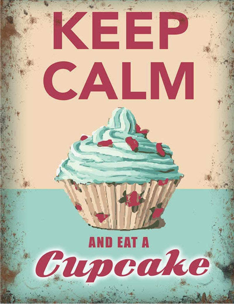 Vintage Tin Poster Keep Calm and Eat a Cupcake Cafe Tea Shop Kitchen Baking Metal Tin Sign 8x12 Inch Retro Art Home Bar Restaurant Garage Garden Wall Decor New Classic Metal Plaque