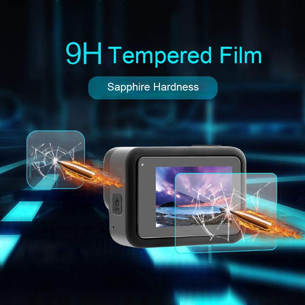 Shan-S 3 Set 9H Tempered Glass Film Dual Screen Ultra-Thin//Scratch-Resistant//Scratch-Resistant//Explosion-Proof Lens Protector for Go-pro 8 Black Camera 3PC Screen Glass Film +6PC Lens Glass Film
