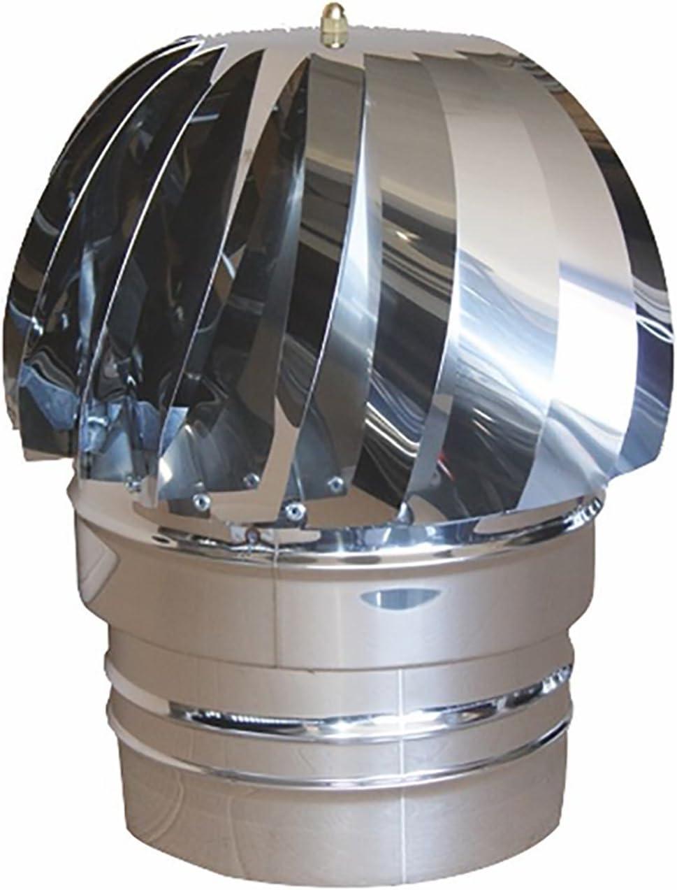 Mistermoby SOMBRERETE ASPIRADOR ASPIRA HUMO EOLICO CERTIFICADO ACERO INOX DIAM. 120 MM