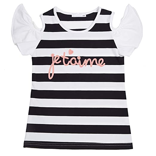 a736e6438a0 Medeshe Kid Girls Flower Cold Shoulder Striped T Shirt Tee for 5-10 Years (