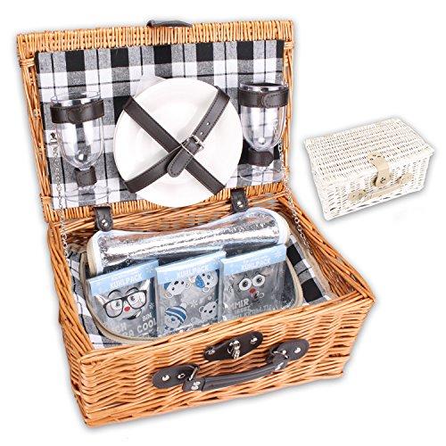 Picknickkorb-PickPack-mit-Khlfach-Khlpacks-und-Geschirr-in-wei-oder-braun