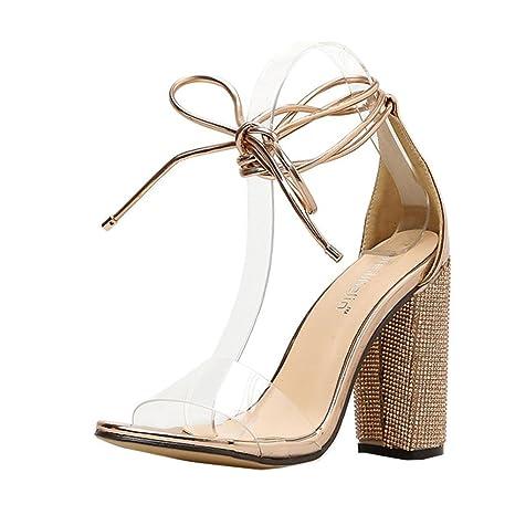 b63b323bf473 SUKEQ Women Sexy Chunky Block Heel Transparent Band Sandals Summer Open Toe  Ankle Tie Diamond Dress