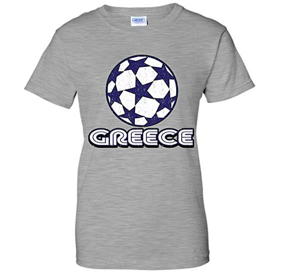 Distressed Greece Soccer Ball With Stars Retro WOMENS T-Shirt (Small AGRAY) 803e4aaea8