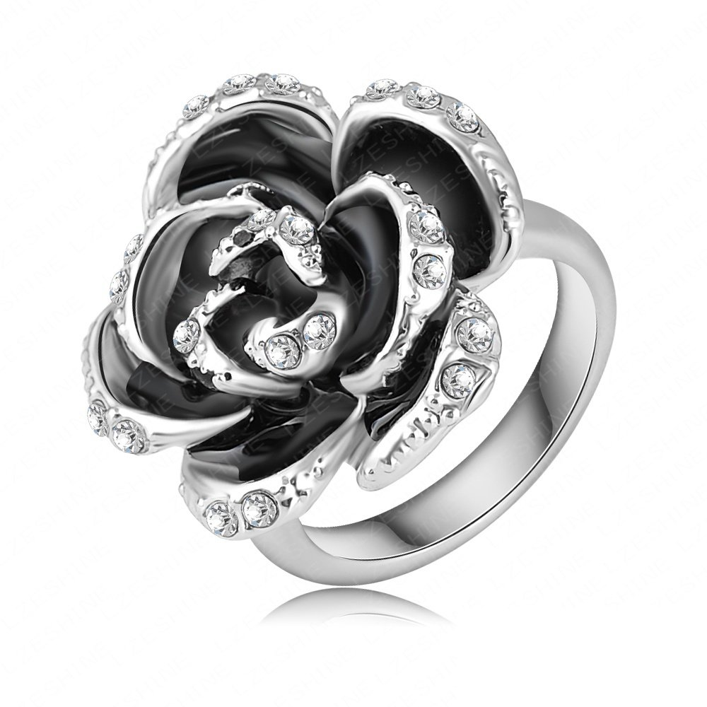 Evertrust (TM)Fashion Black Rose Wedding Rings Real Platinum Plated Genuine Austrian Crystal Ring Engagement Jeweslry Ri-HQ0127-b
