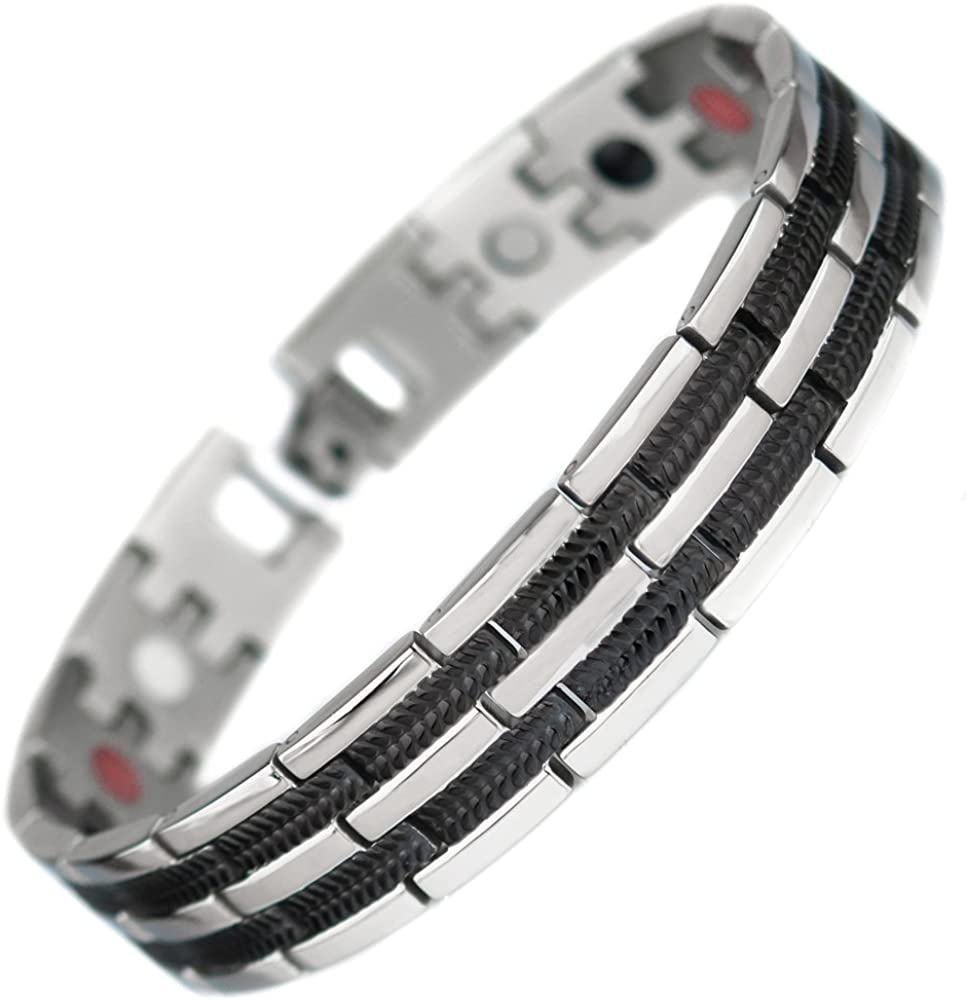 topt mag Bracelet Dragon Viking Acier magnetique Plaque Argent Bio 17 Aimant de 3000g Homme Femme