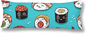 InterestPrint Cartoon Rolls and Sushi Japanese Food Pillow Covers Pillowcase with Zipper 21x60 Twin Sides, Rectangle Body Pillow Case Protector for Home Couch Sofa Bedding Decorative