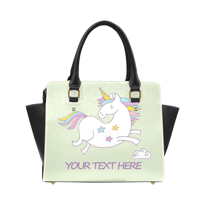 Customized Add Your Custom Text Unicorn Horse Animal Print Women Shoulder Bag Satchel Bag Purse - PU Leather