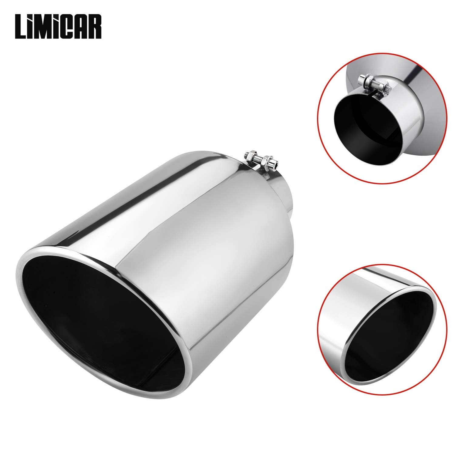 LIMICAR Diesel Exhaust Tip 5 Inlet 10 Outlet 15 Long Exhaust Tailpipe Tip Clamp On Design Stainless Steel Bolt-On Angle Cut Universal For Trucks Car
