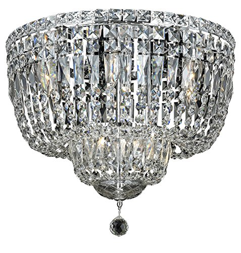 Elegant Lighting 2528F20C/Sa Swarovski Spectra Clear Crystal Tranquil 10-Light, Single-Tier Flush Mount Crystal Chandelier, Finished in Chrome with Clear Crystals