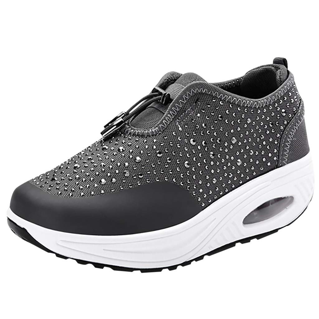 Clearance! Swiusd Women's Rhinestone Sneakers Air Cushion Comfy Thick Bottom Elastic Sport Shoes Trendy Breath Mesh Hollow Shoes (Gray, 7 .5 M US)