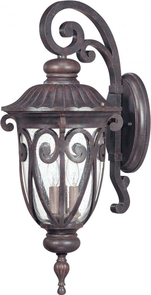 Nuvo 60/2062 Arm Down Wall Lantern with Clear Seeded Glass, Burlwood, Large